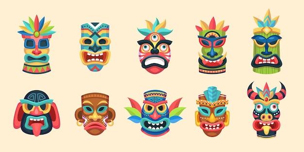 Stammesmaske. ethnische afrikanische, aztekische und hawaiianische ritual-gesichtsmasken der aborigines, traditionelle exotische indische holzsymbole, alte tropische rituelle totem-religion-idol-vektor-buntes isoliertes set