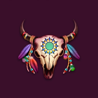 Stammesschädelkuh mit federn auf hörnern