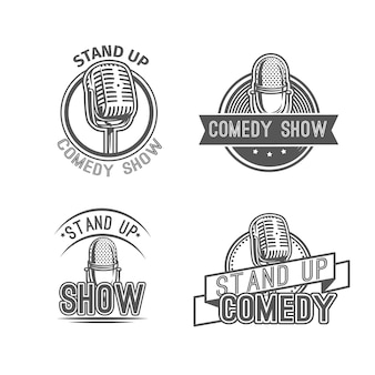 Stand up comedy show label abzeichen elemente Premium Vektoren