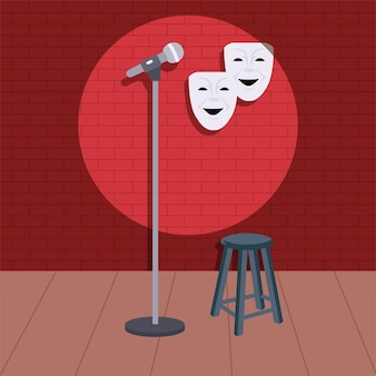 Stand-up-comedy-show mit mikrofon und vielen anderen eigentum