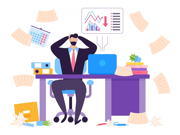 Standard im börsenkonzept, zusammenbruch der wertpapierillustration. mann sitzt am tisch schockiert durch fallenden preis seiner aktien