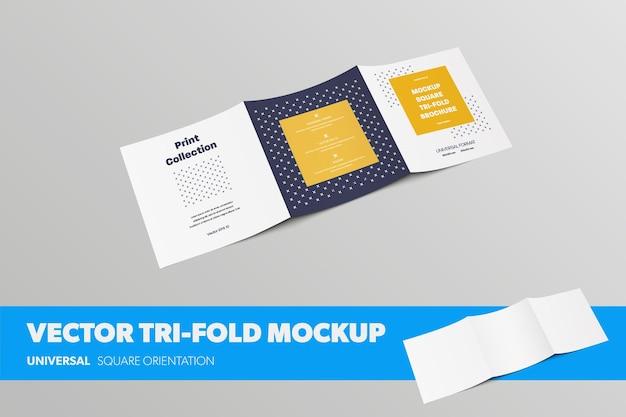 Standard-quadrat-vektor-broschüren-vorlage, mit realistischen schatten, rückansicht, auf hintergrund isoliert. mockup offene leere geschäftsbroschüre für präsentationsdesign. dreifach gefaltetes layout mit abstraktem muster