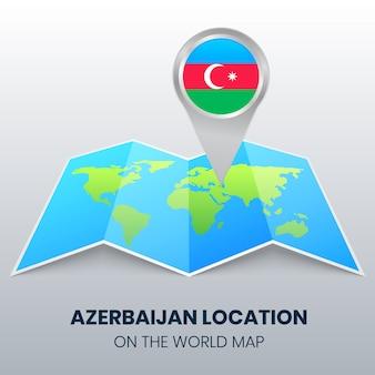 Standort-ikone von aserbaidschan auf der weltkarte, runde pin-ikone von aserbaidschan