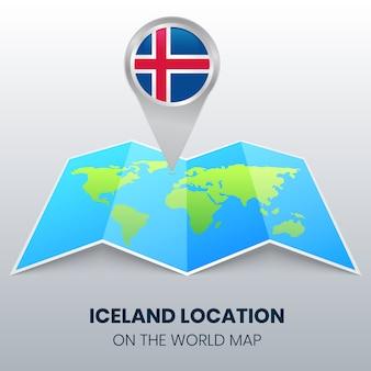 Standort-ikone von island auf der weltkarte, runde pin-ikone von island