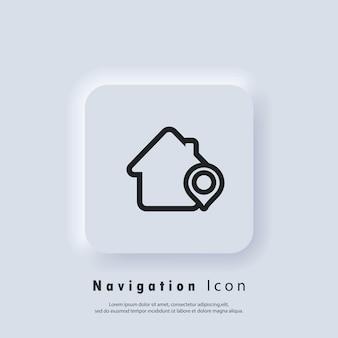 Standort-pin, speicherpunkt. e-commerce-kampagnenstrategie für lokales marketing. markt- und shop-standort-zeiger-symbol mit shop. gps-standort. pin-symbole zuordnen. vektor-eps 10. ui-symbol. neumorphe ui-ux