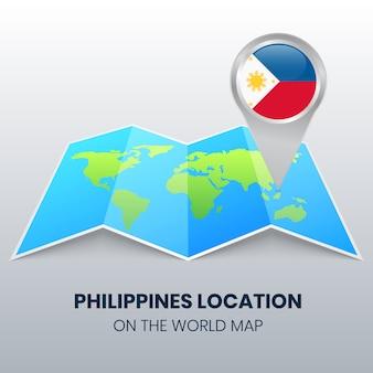 Standort-symbol der philippinen auf der weltkarte, rundes stift-symbol der philippinen