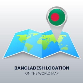 Standort-symbol von bangladesch auf der weltkarte, rundes stift-symbol von bangladesch