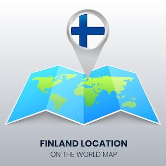 Standort-symbol von finnland auf der weltkarte, round pin-symbol von finnland