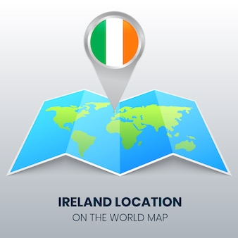 Standort-symbol von irland auf der weltkarte, rundes pin-symbol von irland