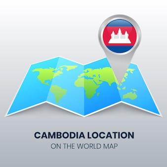 Standort-symbol von kambodscha auf der weltkarte, rundes stift-symbol von kambodscha