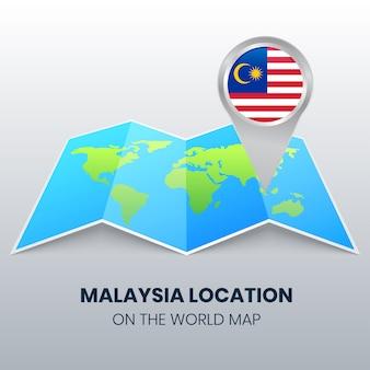 Standort-symbol von malaysia auf der weltkarte, rundes stift-symbol von malaysia