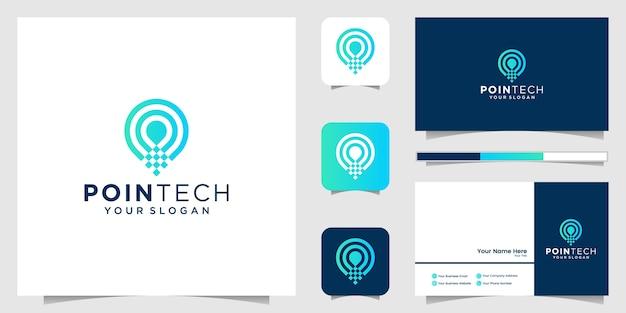 Standort tech line art stil und visitenkarte