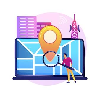 Standortbezogene werbung. geolocation-software, online-gps-app, navigationssystem. geografische einschränkung. mann, der adresse mit lupe sucht.