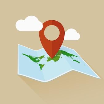 Standortflaches symbol reisekarte und pin. vektor-illustration