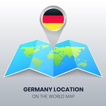 Standortikone deutschlands auf der weltkarte