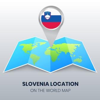 Standortikone sloweniens auf der weltkarte