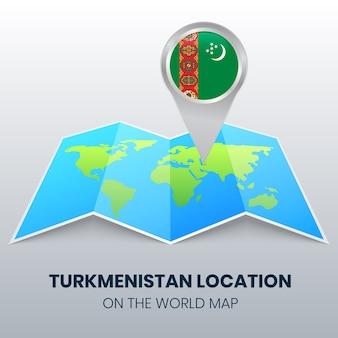 Standortikone von turkmenistan auf der weltkarte, rundes stiftikone von turkmenistan