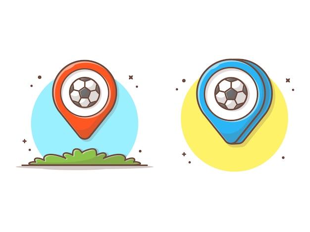 Standortkarte mit fußball-ikonen-illustration
