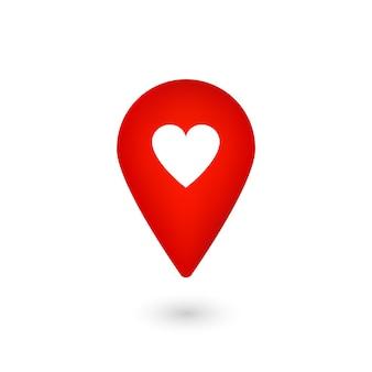 Standortsymbol mit herz, roter zeiger mit like, marker
