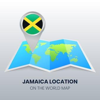 Standortsymbol von jamaika auf der weltkarte