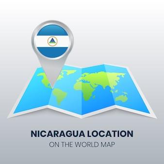 Standortsymbol von nicaragua auf der weltkarte