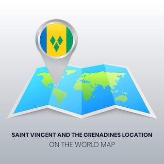 Standortsymbol von st. vincent und die grenadinen auf der weltkarte