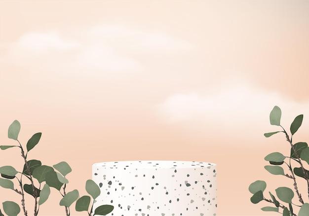 Standshow-kosmetikprodukt bühnenvitrine auf orangefarbenem studio-3d-hintergrund auf sockelanzeige