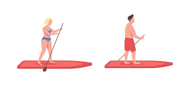 Standup paddleboarding flacher, gesichtsloser zeichensatz. sportler auf surfbrett. frau an bord. aktive cartoonillustration des aktiven lebensstils für webgrafikdesign und animationssammlung