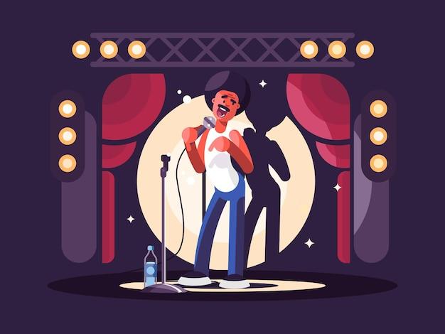 Standup-show-design flach. mann mit mikrofon auf der bühne. vektor-illustration