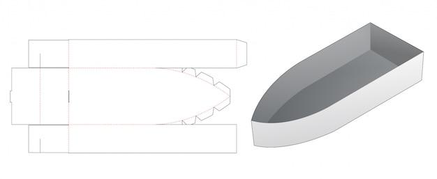 Stanzschablone in form eines boots-snackbehälters