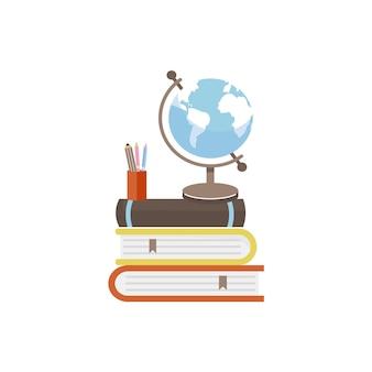 Stapel bücher globus und briefpapier illustration