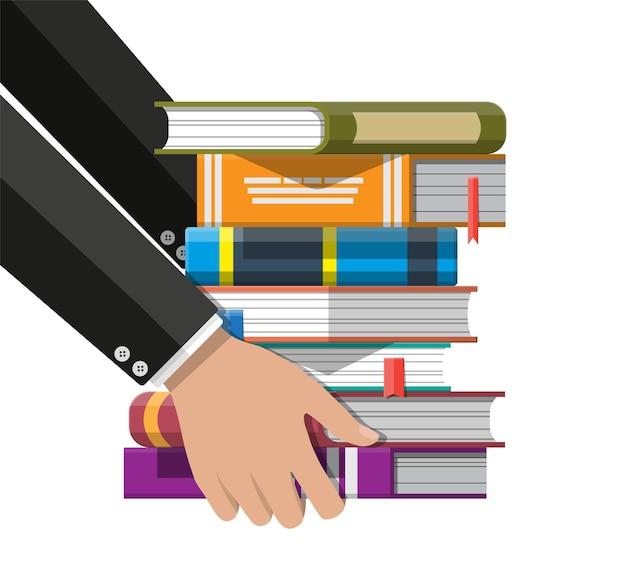 Stapel bücher in der hand. leseerziehung, e-book, literatur, enzyklopädie.