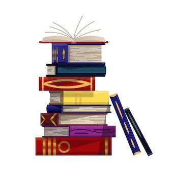 Stapel bunter bücher. stapel von bildungsbuchvektor. illustration im flachen stil. wissenskonzept. lesen, lernen und bildung durch bücher erhalten