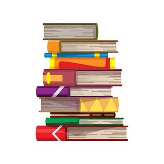Stapel der bunten bücher auf einem weißen hintergrund. stapel von bildungsbüchern. illustration im flachen stil. wissenskonzept. lesen, lernen und bildung durch bücher erhalten
