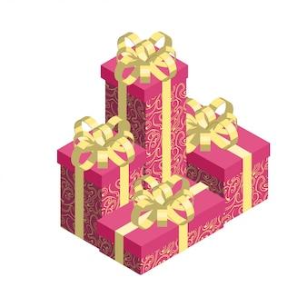 Stapel der geschenkkästen getrennt