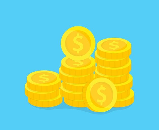 Stapel der goldmünzenillustration. Premium Vektoren