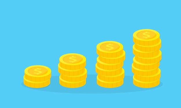 Stapel goldener münzen auf einem blauen hintergrund