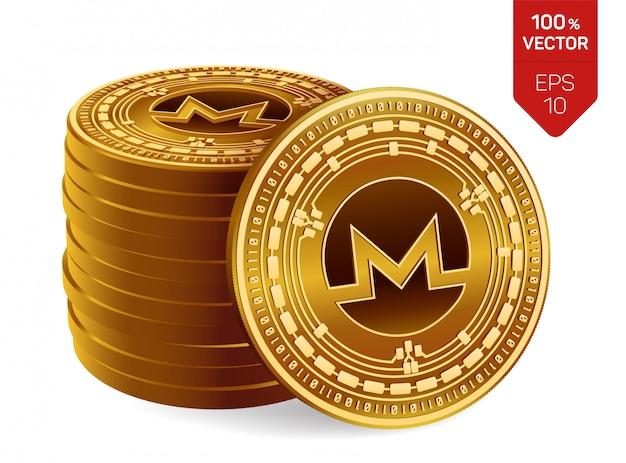 Stapel goldener münzen mit monero-symbol lokalisiert auf weißem hintergrund.