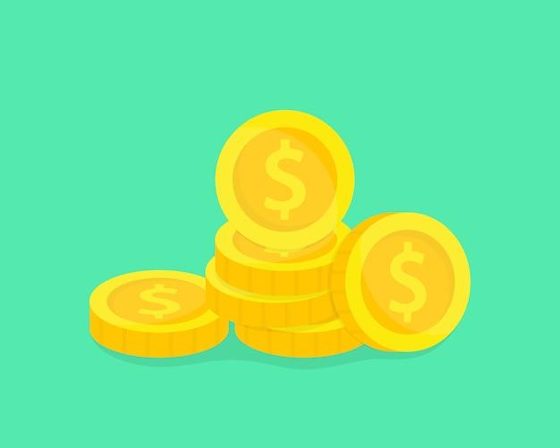 Stapel goldmünzen. geldillustration. konzept des sparens, der spende, des investierens zahlender illustration.