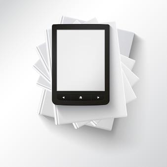 Stapel leere bücher mit e-book, draufsicht. verschiedene leere bücher auf weißem hintergrund für ihr design und ihre präsentation, bildung simbol