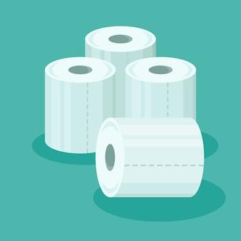 Stapel toilettenpapierrollen im flachen stil.