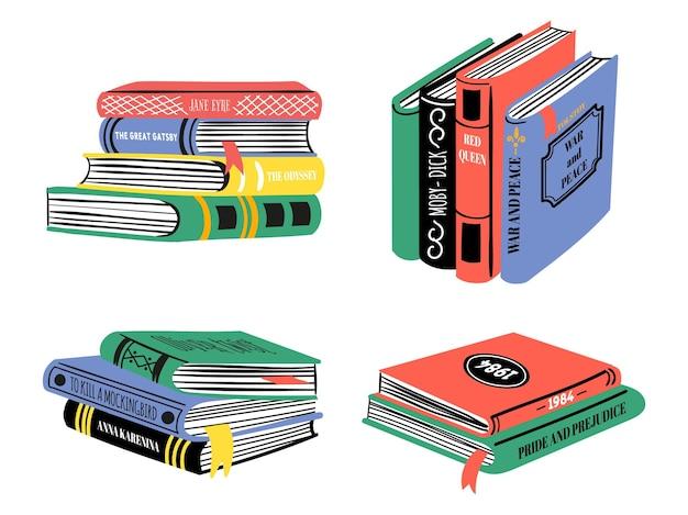 Stapel von bestseller-büchern. handgezeichnete klassische literaturstapel. beliebtes buchdesign für bibliothek oder buchhandlung. doodle bildung vektor-set. illustrationsbuch skizzenstapel und stapel mit lesezeichen