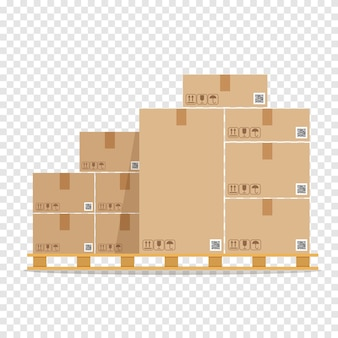 Stapel von braunen pappkartons auf holzpalette. lagerteile box auf holzschale. frachtkasten.