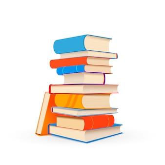 Stapel von bunten lehrbüchern lokalisiert auf weiß