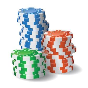 Stapel von casino-chips. transparenz verwendet