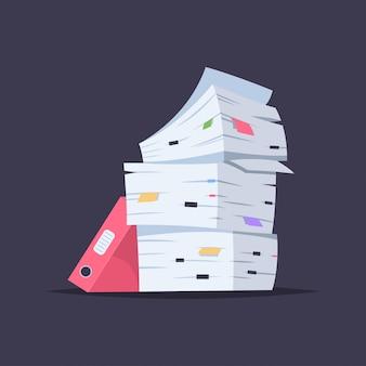 Stapel von dokumenten, dateien und ordnern. vector die flache illustration der karikatur des büropapierstapels lokalisiert
