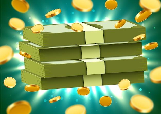Stapel von dollars auf hellem hintergrund mit münzen und lichtstrahlen. geld- und wirtschaftskonzept.