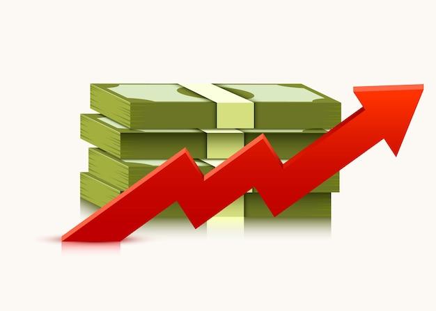 Stapel von dollars mit steigendem pfeil lokalisiert auf weiß. geld- und wirtschaftskonzept.