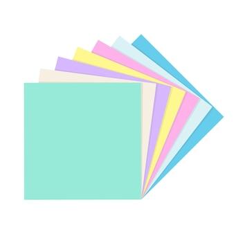 Stapel von farbigen leeren quadratischen papiernotizen. sammlung von schul- und bürobedarf. flache vektorillustration lokalisiert auf weißem hintergrund