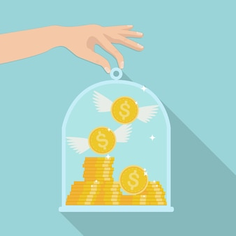 Stapel von goldgeld und fliegenden münzen unter glaskuppel. geld sparen konzept. versicherung von darlehen, hypothek